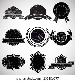 Vector Vintage Insignias Collection . Grunge Elements for your Design . Banners, Stamps, Logos, Icons, Labels and Badges Set .