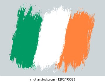Vector vintage Ireland flag. Drawing flag of Ireland.