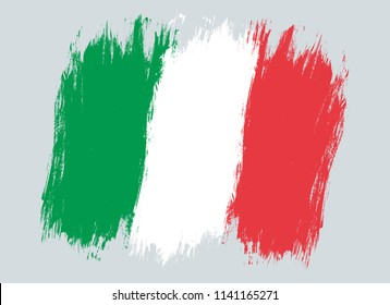 Vector vintage Italian flag . Drawing flag of Italy.