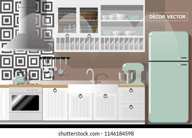 vector vintage kitchen decorate .interior design.clean kitchen
