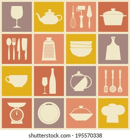 Vector Vintage kitchen dishes icons set