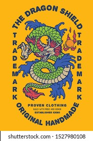 Vector of vintage label design with asia dragon tattoo illustration with flames and fire breath