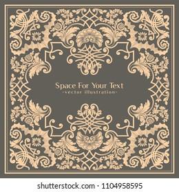 Vector vintage label design. Baroque style golden frame.