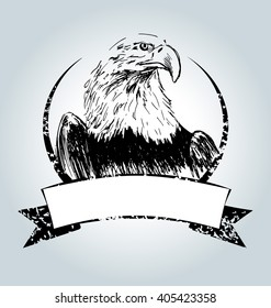 Vector vintage label with drawing eagle