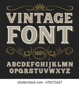 Vector vintage label font.