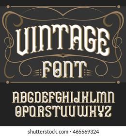 Vector vintage label font on a dark backround. Label font.