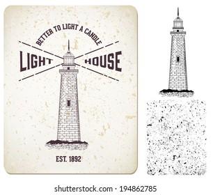 """Vector. vintage label """"lighthouse"""""""