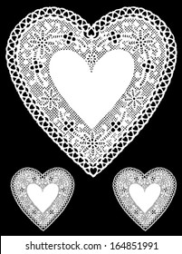vector - Vintage Lace Heart Doilies. Antique design with copy space for Valentine's Day, Mothers Day, anniversary, birthday, albums, scrapbooks, cake decorating. Isolated on black background.