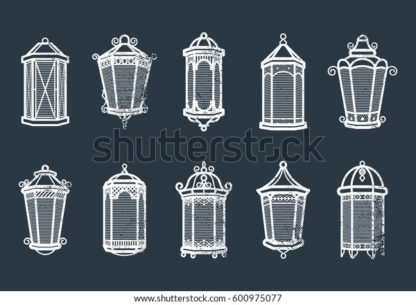 Vector vintage lantern set isolated on dark. Classic antique light. Ancient retro lamp design. Traditional silhouette. Old graphic object design. Elegant collection