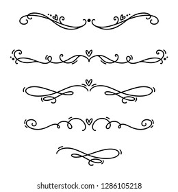 Vector vintage line elegant valentine dividers and separators, swirls and corners decorative ornaments. Floral lines filigree design heart elements. Flourish curl elements for invitation illustration