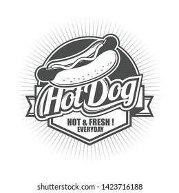 Vector vintage logo, badge and symbol template design for Hot Dog Shop or Hot Dog Seller