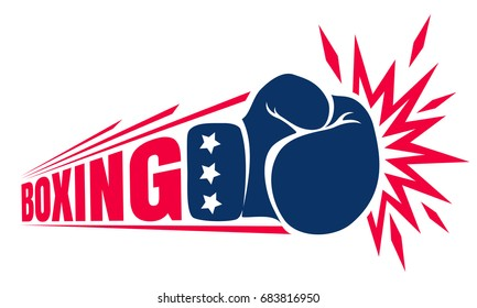 Vector vintage logo for a boxing with glove. Vintage logo for boxing
