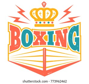 Vector vintage logo for a boxing with ring. Retro emblem with boxing ring.