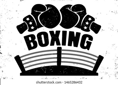 Vector vintage logo for a boxing with two gloves and boxing ring. Retro emblem for boxing. Poster of a boxing with gloves and ring