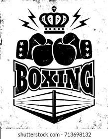 Vector vintage logo for a boxing with two gloves, crown and ring. Emblem for boxing.