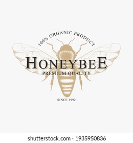 Vector vintage logo with hand drawn sketch honey bee isolated on white background. Natural organic design concept for emblem, packaging, label, bee farm branding