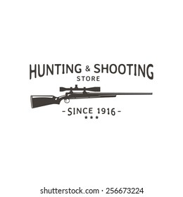 Vector vintage logo hunting & shooting store. Rifle silhouette.