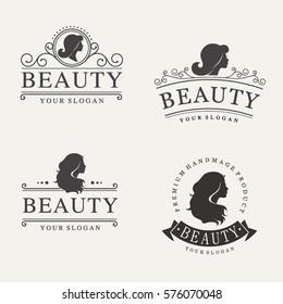 Vector vintage logo set for beauty salon, hair salon, cosmetic