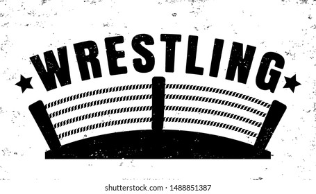 Vector vintage logo for a wrestling with ring. Retro emblem for wrestling. Poster of a wrestling in vintage style.