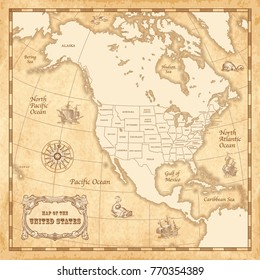 Vector vintage map of the Unites States of America with high quality illustrations of wind roses, sailing ships and sea monsters, on a vector old parchment background.