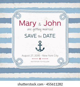 Vector vintage marine wedding invitation. Nautical design. Beach party invitation. Sea style wedding. Save the date.