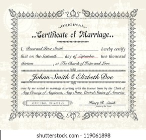 Marriage certificate images stock photos vectors shutterstock vector vintage marriage certificate easy to edit distressed overlay is easy to remove yelopaper Choice Image