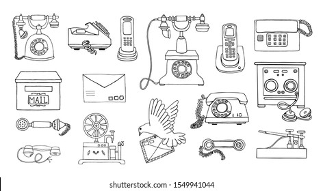 Vector vintage means of communication line drawing set. Retro black and white collection of wired rotary dial telephone, radio phone, telegraph, receiver, pigeon post, letter, stamps