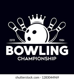 Vector vintage monochrome style bowling logo, icon, symbol. Bowling ball and bowling pins illustration. Trendy design elements, isolated on black background.