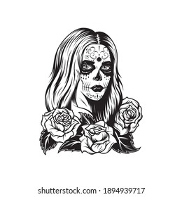 Vector vintage monochrome tattoo illustration template Girl with spooky make up and flowers isolated on white background. Santa Muerte tattoo