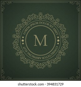 Vector vintage monogram logo template - flourishes calligraphic frame with letter on a ornamental pattern background.
