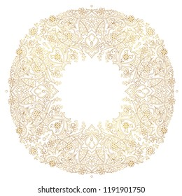 Vector vintage monoline frame for design template. Round element in Eastern style. Golden outline floral border. Luxury contour illustration for invitation, greeting card, wallpaper, web, background.