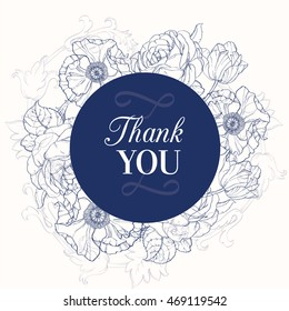 Vector Vintage Navy Blue Vintage Floral Drawing Wedding Thank You Card With Tulips, Poppies, Rozes In Classic Retro  Style Design.