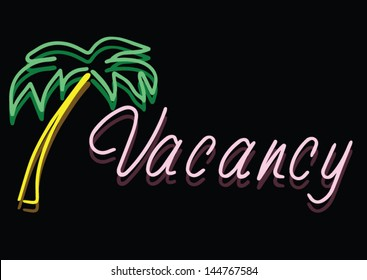 Vector Of Vintage Neon Vacancy Sign At A Beach Hotel