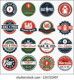 vector vintage oil and gasoline sign set.