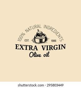 Vector vintage olive logo. Retro emblem with rural extra virgin oil press. Hand sketched farm production sign.