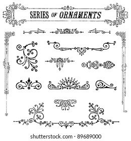 Vector Vintage Ornament Set. Easy to edit. Perfect for invitations or announcements.