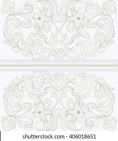 Vector Vintage ornamental lace with floral Invitation card. Elegant lacy feather flower decor card for greeting card, wedding invitation or announcement, template. Beige pastel pink color
