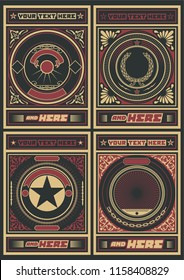 Vector Vintage Ornate Backgrounds Obey Poster Style