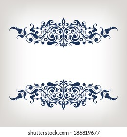 vector vintage ornate border frame filigree with retro ornament pattern in antique baroque style arabic decorative calligraphy design
