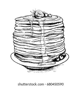 Vector vintage pancake drawing. Hand drawn monochrome food illustration. Great for menu, poster or label.