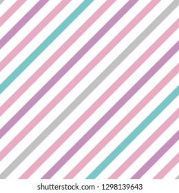 Vector vintage pastel simple diagonal stripes seamless pattern