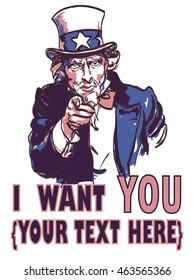 vector vintage patriotic poster with signature I want you and your text for your design. Eps 10
