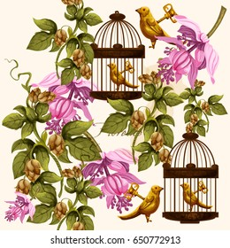 Vector vintage pattern with bird in the cage