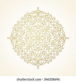 Vector vintage pattern in Eastern style. Ornate element for line art design. Ornamental circle pattern for wedding invitations, greeting cards. Traditional golden decor. Mandala.