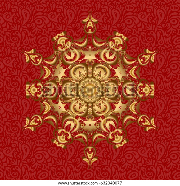 Vector vintage pattern. Mandala gold on a red background. Invitation card.