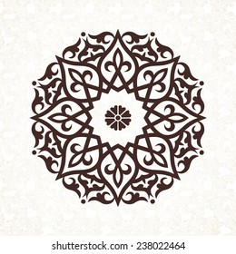 Vector vintage pattern in Victorian style in shape of a circle. Ornate element for design. Ornamental pattern for wedding invitations, greeting cards. Traditional contrast decor. Mandala.