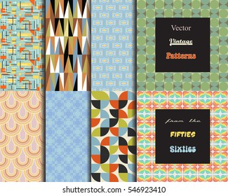 Vector Vintage Patterns Set from the Sixties Wallpapers Retro Collection