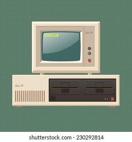 Vector vintage personal computer say hello. Eps10