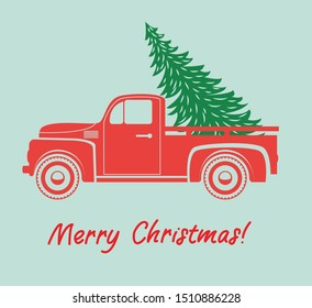 vector vintage pickup truck delivery of christmas tree. old red car with holiday fir tree and set of extra trees for retro cards, happy new year and merry christmas illustrations. red retro truck