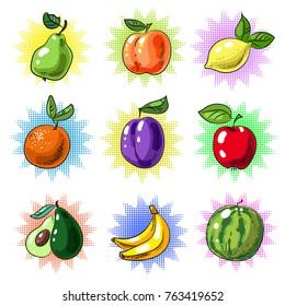 Vector vintage pop art patches set with tasty fresh fruits. Pear, peach, lemon, tangerine, apple, plum, mango banana and watermelon stickers, pins.